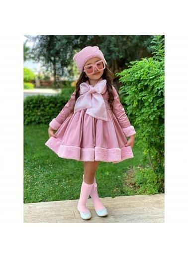 Quzucuk Kids Kız Çocuk Kürk Detaylı Pembe Elbiseli Kombin Renkli